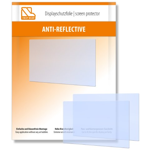 2 x Next Level Displayschutzfolie Anti Reflective für Nikon D5100 / D-5100 - Displayschutz antireflektierend und hartbeschichtet! PREMIUM QUALITÄT - Made in Germany
