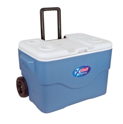 Coleman 50Qt Xtreme Wheeled Cooler Hard Shell Passive Cooler - Blue/White