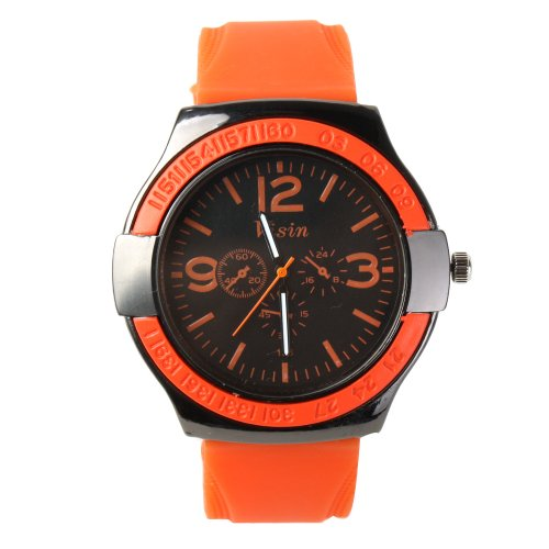 Yesurprise Fashion Dark Blue Silicone Rubber Band Men'S Unisex Quartz Jelly Wrist Watch Orange