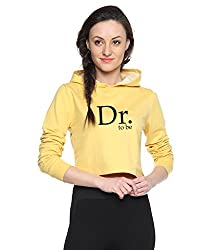 Campus Sutra Yellow Womens Printed Crop Hoodie (AW15_HCR_W_DR_YE_L)