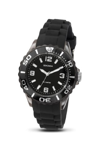 Sekonda Boys/Youth's Black Silicon Strap Watch Black Dial 3390