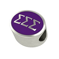 Sigma Sigma Sigma Enamel Sorority Bead Charm Fits Most European Style Bracelets. Check to See If We Have Your University Bead Also. In Stock Ships Fast.