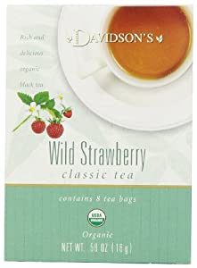 Davidson's Tea Wild Strawberry, 8-Count Tea Bags (Pack of 12)