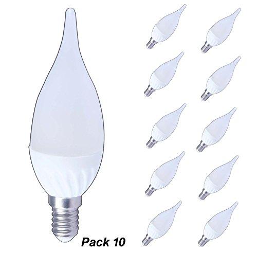 Lampaous in ceramica, 10 x 3W SMD, LED E14 Edison SES-Lampadina a candela LED-Lampadario, colore: bianco freddo 30W-Lampadina alogena di ricambio per lampadari, 2years di garanzia, LED con attacco CES