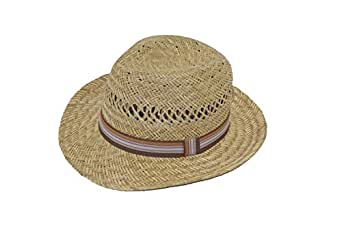 GIZZY® Children's Boys, Girls, Natural Straw Trilby Sun Hat with Band.(Brown)