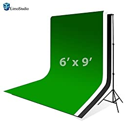LimoStudio 10\' x 8.5\' Background Stand Backdrop Support System Kit + 6\' x 9\' Green Chroma Key Muslin Backdrop + 6\' x 9\' Black Muslin Backdrop + 6\' x 9\' White Muslin Backdrop Background Photo Portrait Studio, AGG280