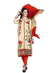 Women's Beige & Orange Embroidered Cotton Semi Stitched Salwar Suit