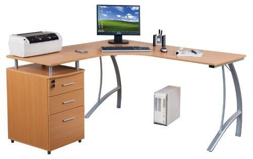 hjh-OFFICE-673400-Eckschreibtisch-CASTOR-mit-Stand-Container-Buche-Silber