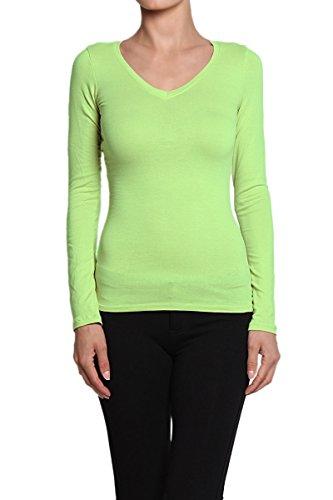 Themogan Women'S Basic V Neck Stretch Long Sleeve Tee - Lime - Medium