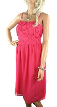 Ladies Black or Pink Sleeveless Kneelength Chiffon Dress (6, pink)