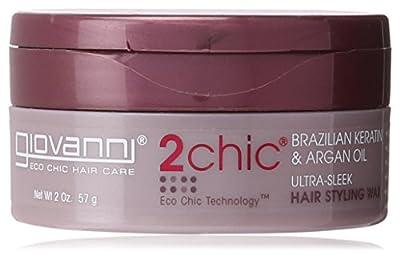 Giovanni 2chic Brazilian Keratin and Argan Oil Ultra-Sleek Hair Styling Wax, 2 Ounce