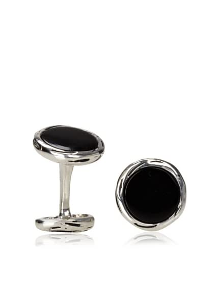 Rotenier Onyx Record Cufflinks, Antiqued Silver