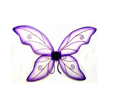 Costume Fairy Wings - Large (34in) Pixie Princess Dress up Wings By Cutie Collection (Adult, Purple)