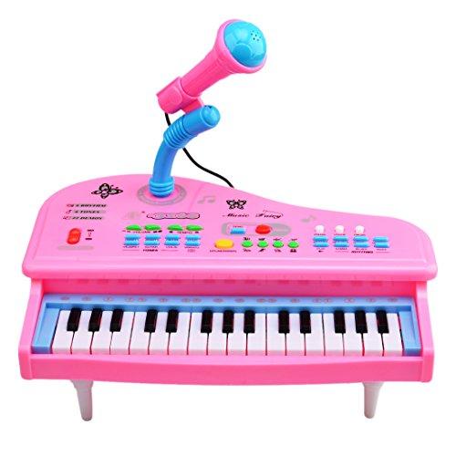 Nios-Teclados-Wolfbush-31-Tecla-Piano-Electrnico-Instrumentos-Musicales-Juguetes-Juegos-Cantar-Karaoke-Micrfono-Rosa