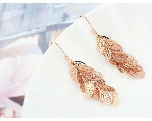 Ninabox® Foglia d'oro-Parure collana orecchini pendenti donna-colore oro rosa-regalo compleanno natale san valentino