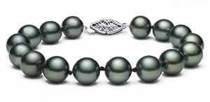 PremiumPearl 9-10mm AAA Quality Black Tahitian Cultured Pearl Bracelet, 7