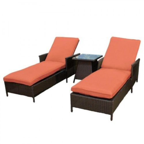 41oOEXYY49L Combo   2 Cancun Outdoor Wicker Patio Chaise Lounges w/ Side Table Tangerine