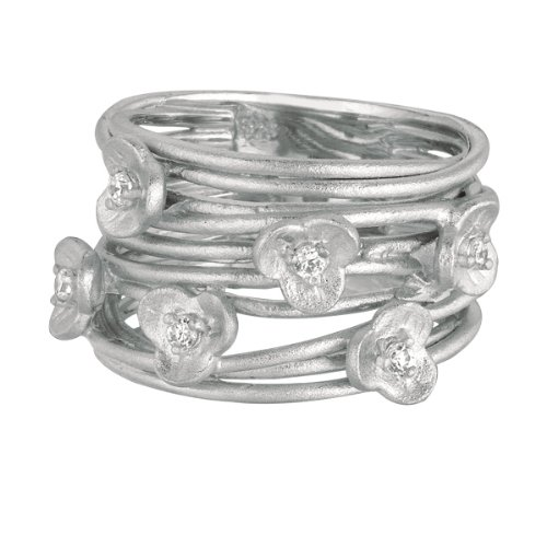 Sterling Silver Rhodium Plated Open Layer With Leaf W Clear Ring - Size 6 - JewelryWeb
