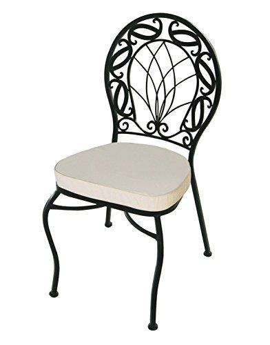 Sedie sedia slim in ferro battuto con cuscino for Sedie da giardino in ferro battuto