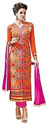 Charming Orange Cotton Straight Suit