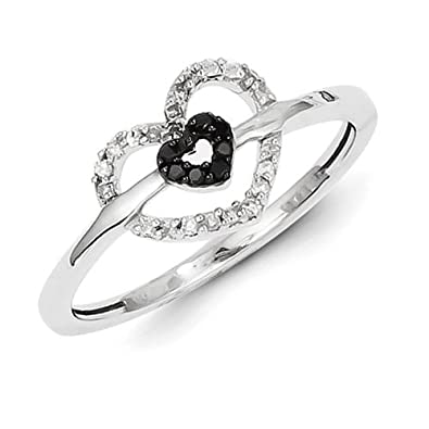 Sterling Silver With Black and White Rough Diamond Double Heart Ring - Ring Size Options Range: L to P
