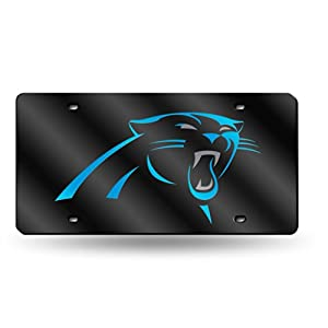 Carolina Panthers Deluxe Mirrored Laser Cut License Plate by Rico