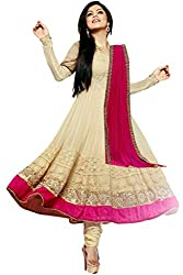 Style Mania Women's Georgette Semi-Stitched Salwar Kameez (LT_BE1_Beige)