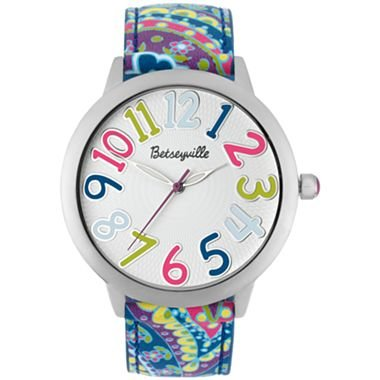 Betsey Johnson Betseyville® Womens Purple Blue Paisley Strap Watch