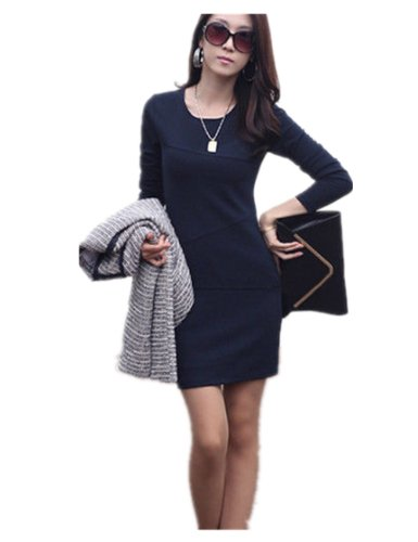 Women'S Autumn Winter Long Sleeve Slim Bodycon Dress Skirts (S ( Us Xs), Navy)