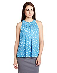 Chemistry Women's Body Blouse Top (C16-114WTTOP_Cut Floral Teal_Small)