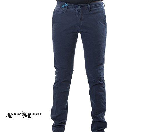 Pantalone Uomo Modello Tasca America Chino Slim Fit Cotone Elastico Colori Vari (44, Blu)