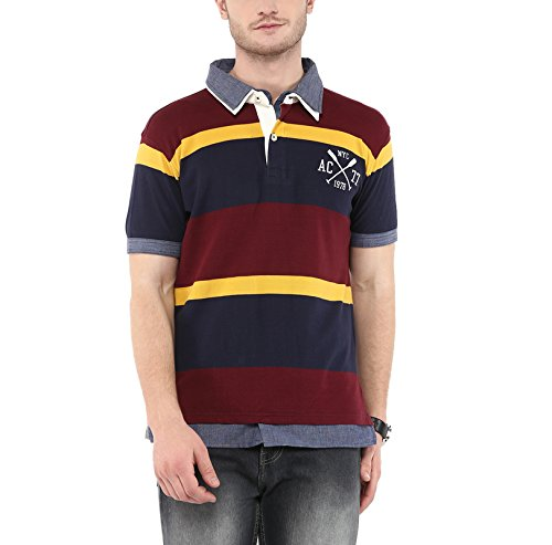 American-Crew-Mens-Polo-Stripes-T-Shirt-Navy-and-Burgundy
