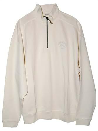 Tommy Bahama Caribbean Half Zip Pullover (Color: Coconut Cream, Size L)