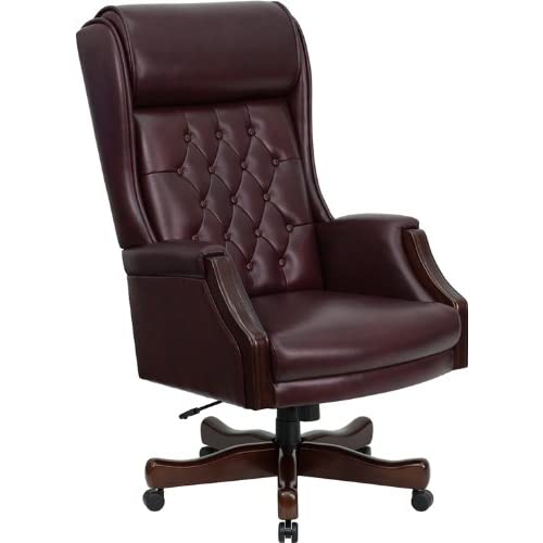 Flash Furniture KC-C696TG-GG High Back Traditional Tufted Burgundy Leather Executive Office Chair
