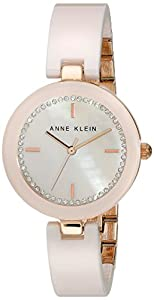 Anne Klein Women's AK/1314RGLP Swarovski Crystal-Accented Ceramic and Rose Gold-Tone Bangle Watch
