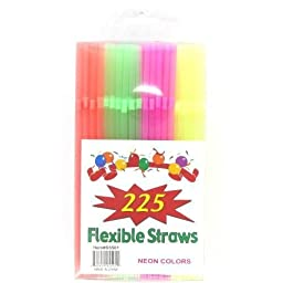 225 Flexible Straw Neon Colors In Pet Case Pack 48 - 892864
