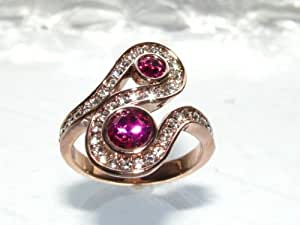 New Improved! Fancy Fuschia Lab Created Flawless Diamonds Ring, 20.8mm. Rose Gold Bonded over Stainless Steel. Stamped. Outstanding Quality Never Tarnish Designer Jewellery.