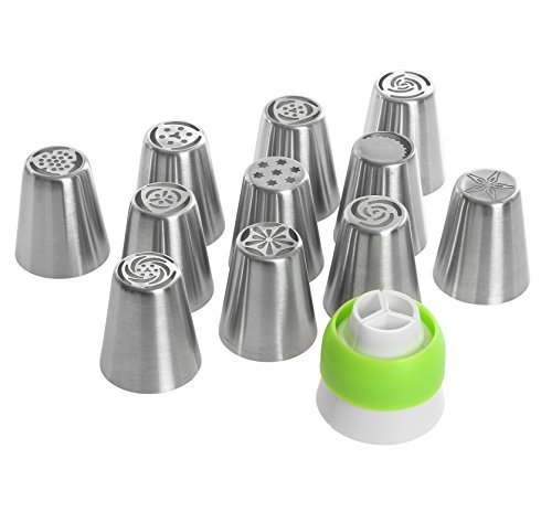 Buster's Kitchen Russian Piping Tips 33pcs cake decorating set (11 nozzles 1 tri-color coupler 1 silicone pastry bag 20 -FREE- disposable bags + E-book) Make Buttercream Icing Flowers Cupcake Frosting