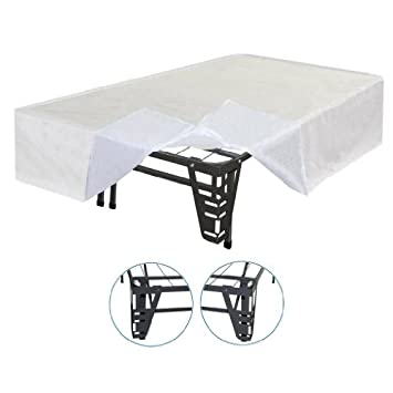 Marvelous  High New innovated bed frame metal frame with corners brackets for headboard attachment and bonus bed skirt Replace old frame u box spring