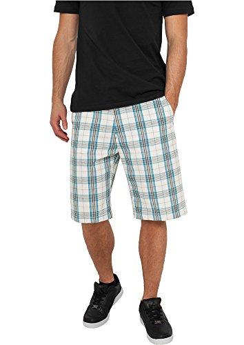 Urban Classics TB371 Checked Shorts Pantaloncino Uomo Regular Fit White Turquoise Black taglia 32