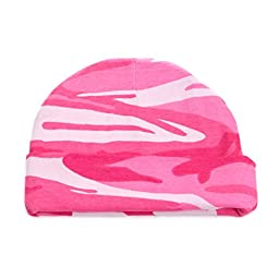 Crazy Baby Clothing Infant Baby Beanie One Size in Color Hot Pink Camo