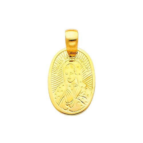 14K Yellow Gold Religious Our Lady of Guadalupe Charm Pendant