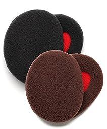 Earbags Bandless Fleece Ear Warmers,Medium,Black and Brown Bundle