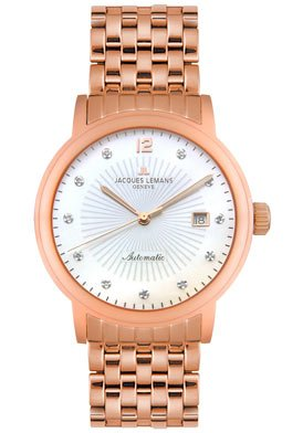 Jacques Lemans Men's GU163F Geneve Grande Classique Diamond Rose Gold-Tone Automatic Watch