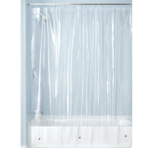 InterDesign PVC-Free PEVA 3-Gauge Shower Curtain Liner, 183 x 183 cm - Clear
