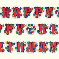 Balloon Party Happy Birthday Letter Banner 8ft - 1