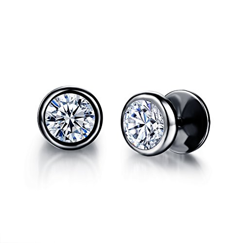 Moniya Jewelry 10mm Men's Stud Earrings Stainless Steel Illusion Tunnel Fake Ear Plugs With Spike Cz,Black (Cool Ear Gauges compare prices)