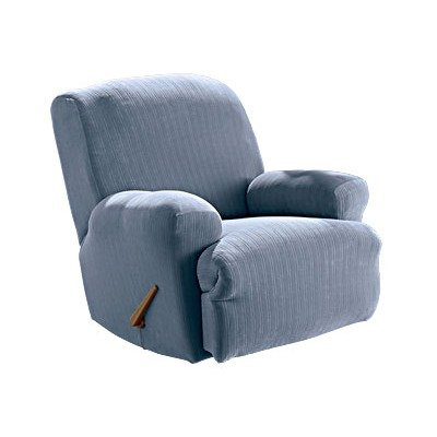 Sure Fit Stretch Stripe Recliner Slipcover, Blue front-934582