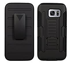 S7 Edge Cover, DR CHEN Holster Case Cover for Samsung Galaxy S7 Edge (Black) with Kickstand and belt Clip [Air Cushion Technology]