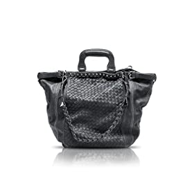 Francesco Biasia Grace - Woven Leather Tote Bag Black